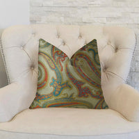 Paisley Bay Cream Red and Blue Handmade Luxury Pillow