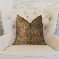 Ellipse Purple Olive and Red Handmade Luxury Pillow