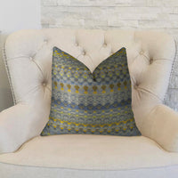 Blue Wynne Blue Navy and Yellow Handmade Luxury Pillow