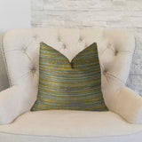 Vermont Blue and Taupe Handmade Luxury Pillow