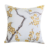 Yellow Blossom Yellow and Gray Handmade Luxury Pillow
