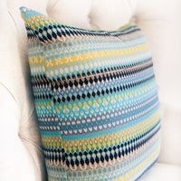 Lake Marsh Turquoise Yellow and Navy Handmade Luxury Pillow