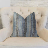 Blue Gate Gray Blue and Taupe Handmade Luxury Pillow