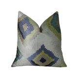 White Navy and Lime Handmade Luxury Pillow