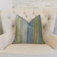 Clear Shore Blue Mustard and Lavender Handmade Luxury Pillow