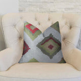 Earth Crust White Green and Red Handmade Luxury Pillow