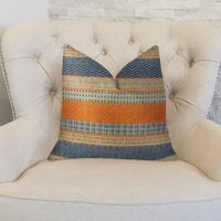 Anastasia Orange Navy and Cream Handmade Luxury Pillow