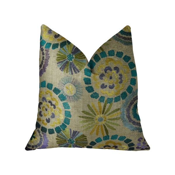 Paulina Turquoise Olive and Taupe Handmade Luxury Pillow