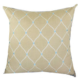 Abby  Taupe White and Blue Handmade Luxury Pillow