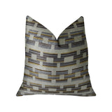 Foursquare White and Gray Handmade Luxury Pillow
