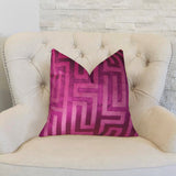 Velvet Maze Runner Fuchsia Handmade Luxury Pillow