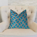 Castle Crest Turquoise and Gray Handmade Luxury Pillow