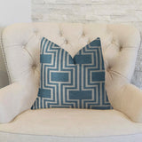 Argyle Square Blue and White Handmade Luxury Pillow