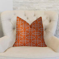 Marquette Orange and White Handmade Luxury Pillow