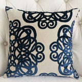Serendepity  Navy and Taupe Handmade Luxury Pillow