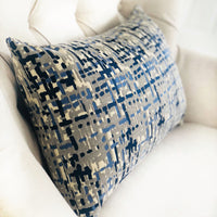 Tierra Monte Plaid Navy Blue and Gray Handmade Luxury Pillow