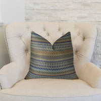 Zipline  Navy Blue and Taupe Handmade Luxury Pillow