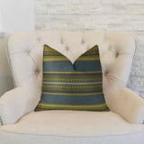 South Shore Dark Blue Olive Green and Cream Handmade Luxury Pillow