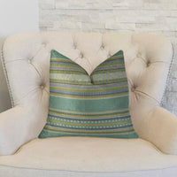 South Shore Jungle Light Blue Green and Cream Handmade Luxury Pillow