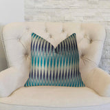 Wavering Blues Navy Blue and White Handmade Luxury Pillow