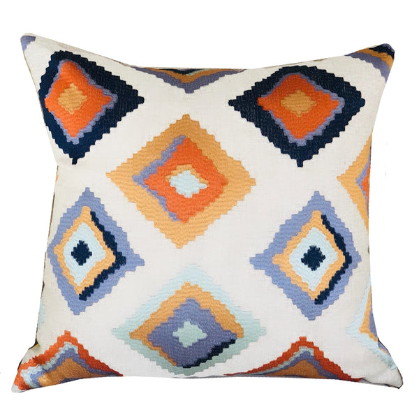 Isabeau Purple Orange and White Handmade Luxury Pillow
