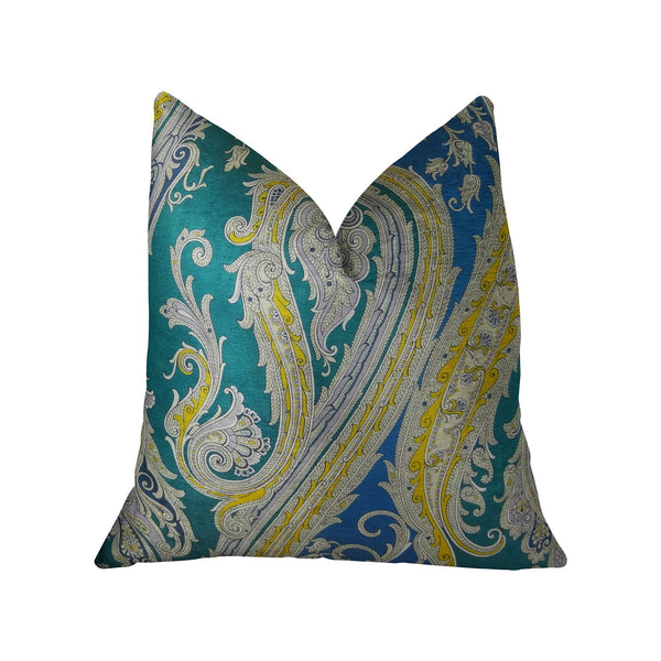 Annalise Blue Yellow and Green Handmade Luxury Pillow