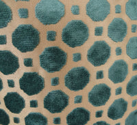 Velvet Aquamarine Turquoise and Taupe Handmade Luxury Pillow