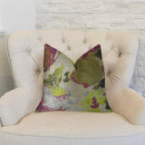 Water Lily Fuchsia Magenta and Citrine Handmade Luxury Pillow