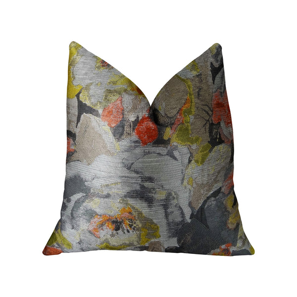 Fairy Garden  Gray Yellow and Coral Handmade Luxury Pillow