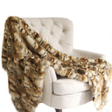 Brandy Gold and White Faux Fox Handmade Luxury Throw