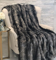 Brandy Grey Faux Fox Luxury Throw