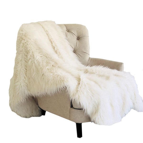 Off-White Mongolian Faux Fur Luxury Throw