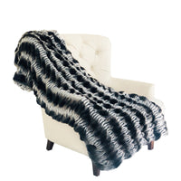 Tissavel Char-pei Gray and Black Chinchilla Faux Fur Luxury Throw