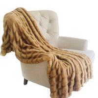 Beige Tissavel Mink Faux Fur Handmade Luxury Throw