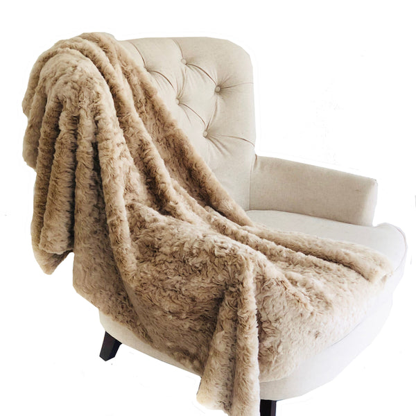 Champagne Persian Chilla Faux Fur Handmade Luxury Throw