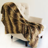 Beige and Brown Chinchilla Faux Fur Luxury Throw