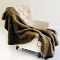 Brown and Grey Wild Grizzly Bear Faux Fur Luxury Throw