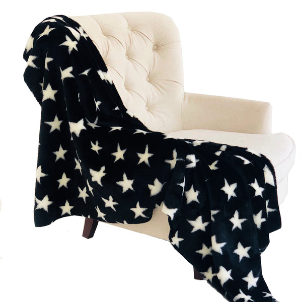 Black and White Stars Soft Handmade Luxury Throw