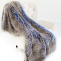 Plush Azure Jean Handmade Luxury Faux Fur Throw
