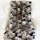 Black and Gold Fancy Rococo Plush Handmade Luxury Faux Fur Throw