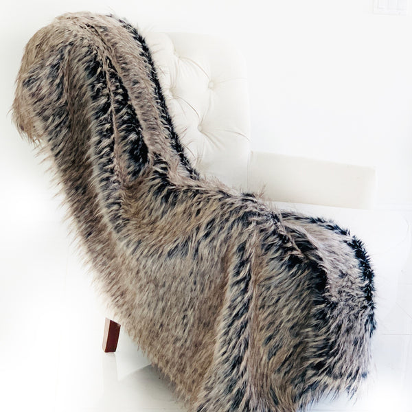 Foxy Brown Gray Plush Handmade Luxury Faux Fur Throw