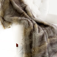 Gray Wolverine Pelage Plush Handmade Luxury Faux Fur Throw