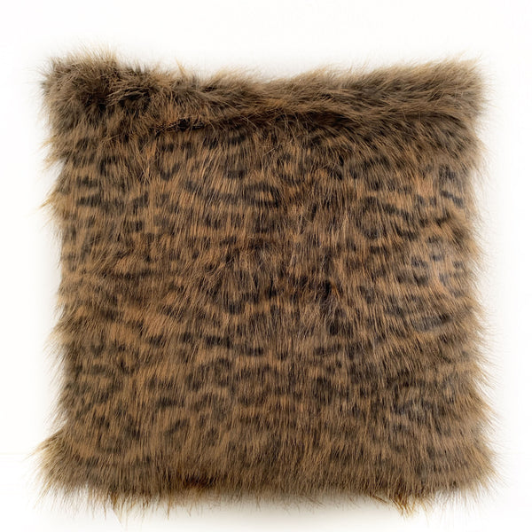 Plutus Brown Tawny WildCat Animal Faux Fur Luxury Throw Pillow