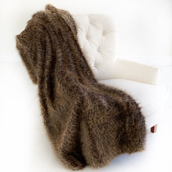 Plush Tawny WildCat Handmade Luxury Faux Fur Throw
