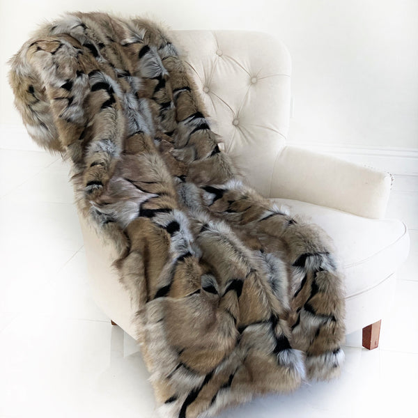 Taupe and Black Wild Wolf Plush Handmade Luxury Faux Fur Throw