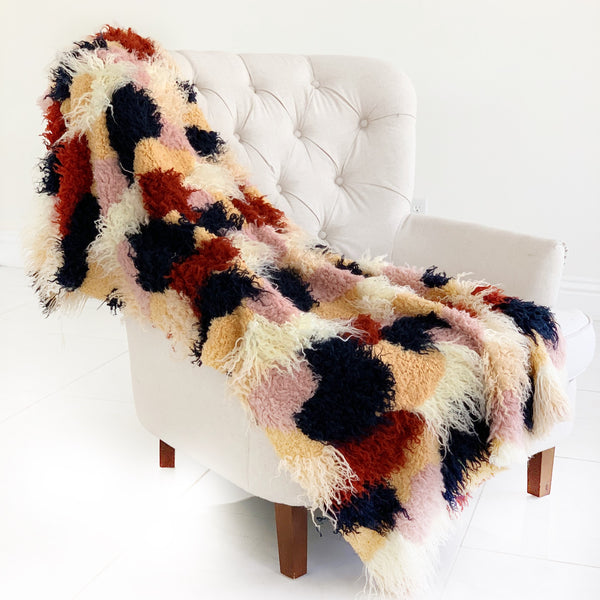 Fanciful Boho Plush Handmade Luxury Faux Fur Throw