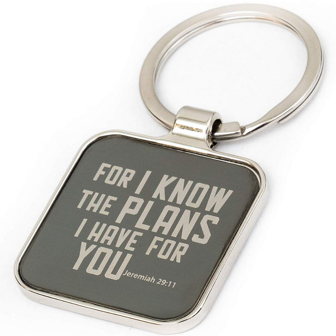 Jeremiah 29:11 for I Know The Plans Scripture Engraved Keychain Key Holder Double Creek