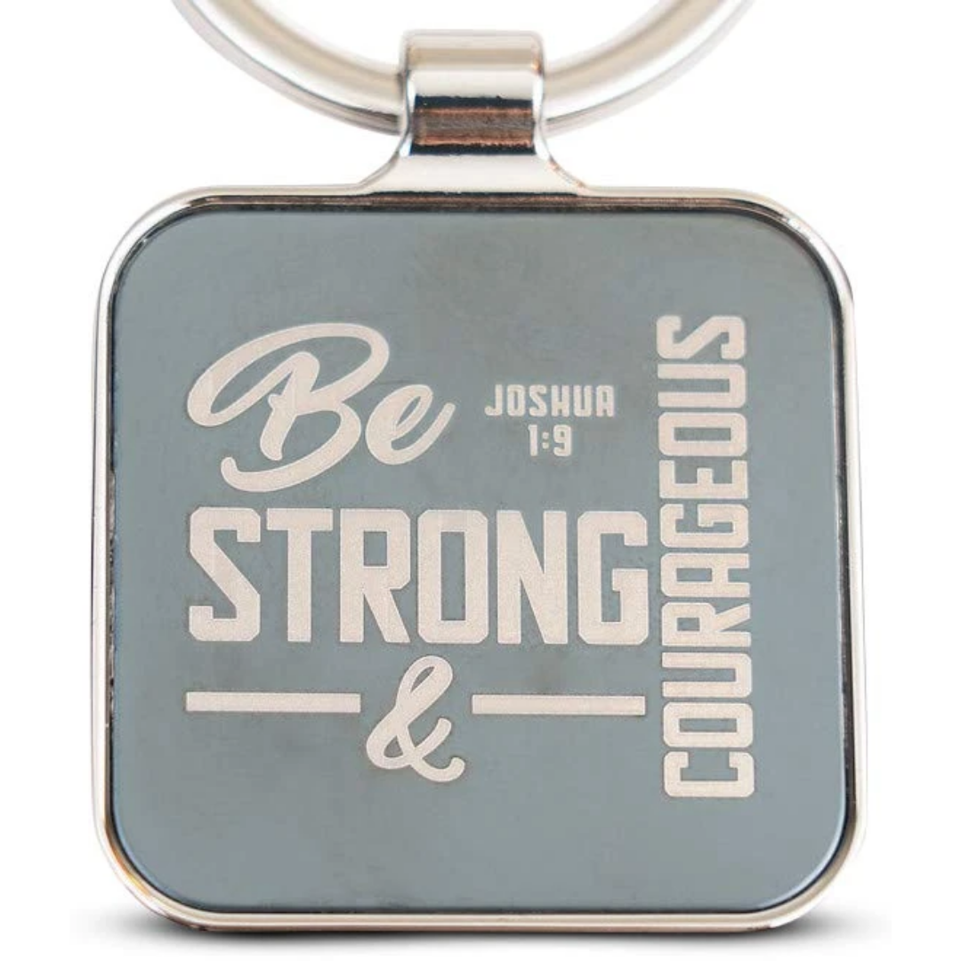 Joshua 1 9 Be Strong and Courageous Scripture Engraved Keychain Key Ring by Double Creek