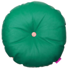 Load image into Gallery viewer, Cool green round leather cushion