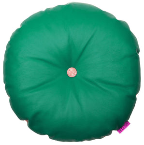 Cool green round leather yoga cushion